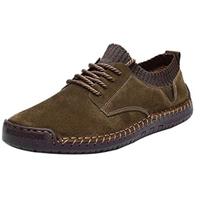 BIFINI Mens Suede Loafers Flats Sneaker Hand Stitching Outdoor Walking Daily Shoes