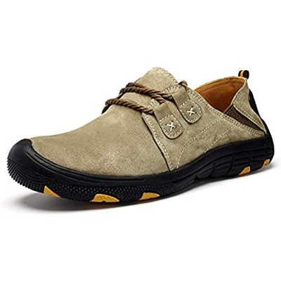 BIFINI Men's Suede Oxford Shoes Casual Lace Up Flats Driving Loafers