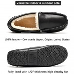 House Slippers for Men Genuine Leather Suede Moccasin Indoor Outdoor Anti-Slip Loafer Slip on Shoes