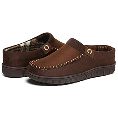 O MINE Men's Loafer Shoes Moccasin Slipper House Shoes for Men with Memory Foam Rubber Sole Indoor/Outdoor