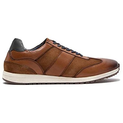 Modern Fiction Men's Shoe Prompt Casual Leather Jogger. Sleek Low Top Fashion Sneaker with Mix Material Details a Breathable Textile Lining and Durable Non-Slip Rubber Outsole.