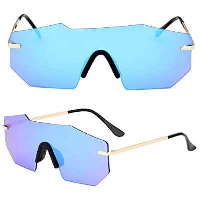 HUIRONG Polarized Sunglasses for Men and Women One-Piece Mirrored Lens UV400