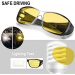 IGnaef Night-Vision Wrap Around Glasses Fit Over Anti-Glare HD Polarized Yellow Lens Night Glasses for Driving