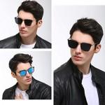 OuShiun Sunglasses for Men Polarized Square Metal Frame UV400 Protection