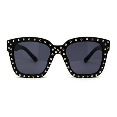 Unique Metal Stud Goth Plastic Horn Rim Sunglasses