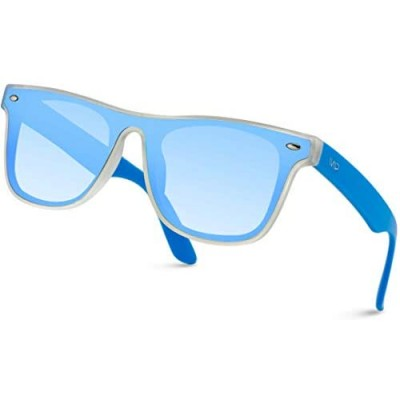 WearMe Pro - Classic Square Full Flat Lens Mirrored Square Style Sunglasses for Men and Women