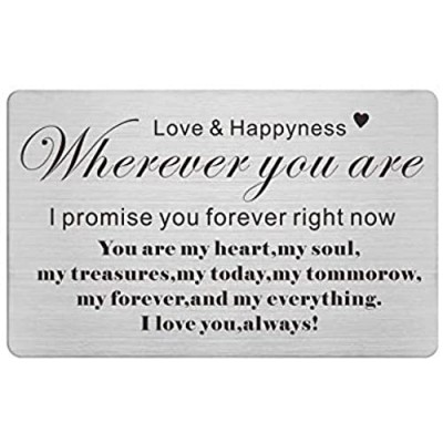 Anniversary Engraved Wallet Card Inserts I Love You Always Promise Gifts for Him Men Valentines Day Gift for Boyfriend Husband Soulmate Present