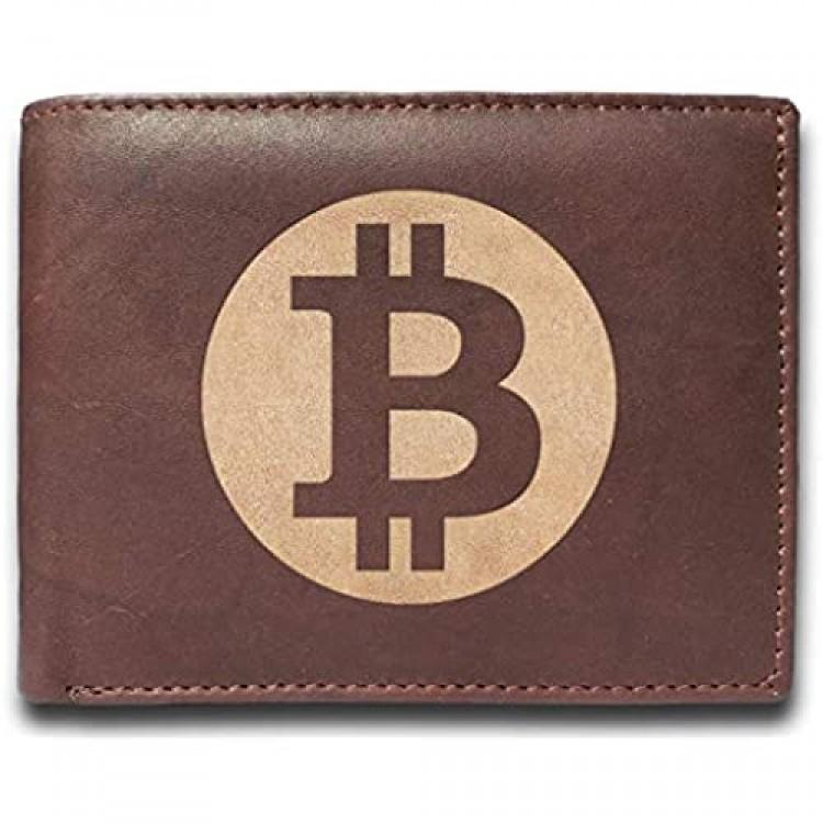 bitcoin Leather Laser Engraved Minimalist Slim Brown RFID Blocking Multi Pockets Credit Card Holder Oraganizer Mens Wallets UD7125