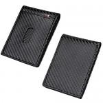 Cynure Men's RFID Blocking Leather Card Bifold Wallet Slim Minimalist Front Pocket Wallet Carbon Fiber Black