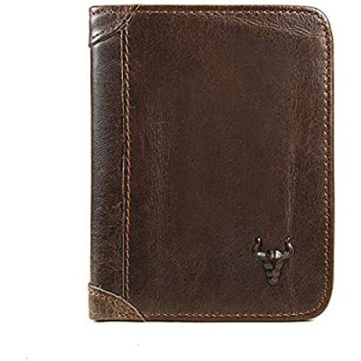Front Pocket Wallets For Men RFID Blocking Mens Wallet Slim - Leather Bifold Credit Card Wallet With ID Window
