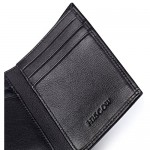 HISCOW Trifold Wallet Black with 9 Credit Card Slots - Italian Calfskin