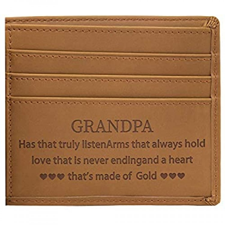 Personalized Customized Wallet Genuine Leather Wallet for Grandpa Handmade Custom Engraved Wallet for Birthday Anniversary or Christmas