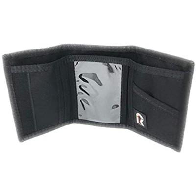 RFID Trifold Basic Nylon Hook & Loop Wallet. USA Made by Rainbow of California (Black)