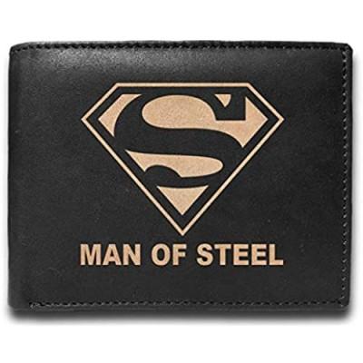 Superman Man of Steel RFID Blocking Cowhide Leather Laser Engraved Slimfold Men Large Capacity Luxury Wallet Slim BLACK Credit Card Holder Organizer 14 Pocket