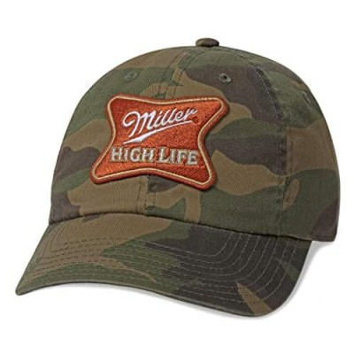 AMERICAN NEEDLE Miller High Life Beer Baseball Hat Casual Relaxed Fit with Curved Brim Adjustable Buckle Strap Dad Cap Ballpark Collection Camo (SMU302A-MILLER)