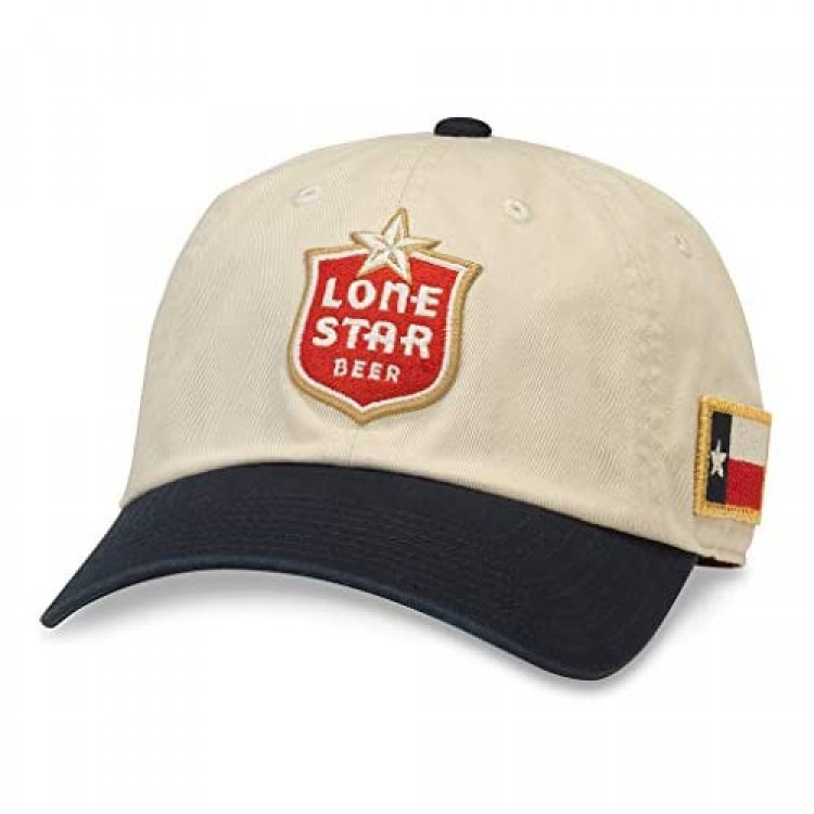 AMERICAN NEEDLE United Slouch Lone Star Beer Baseball Dad Buckle Strap Hat (PBC-1909B-INVY) Ivory/Navy