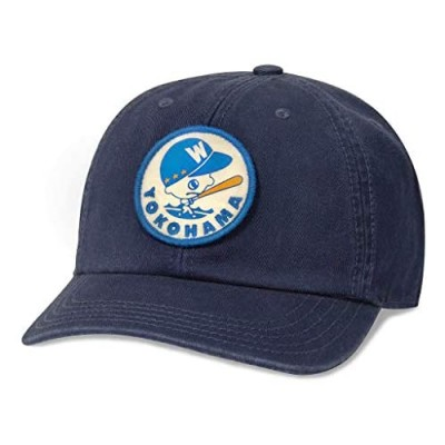 AMERICAN NEEDLE Yokohama Whales Baseball Hat Japanese Central League Casual Relaxed Fit with Curved Brim Adjustable Buckle Strap Dad Cap Hepcat Collection Navy (43870A-YOW-NAVY)