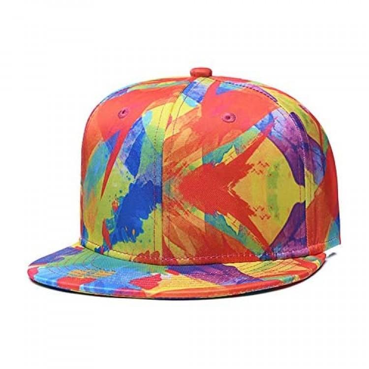 CLOTIME Flat Bill Brim Snapback Hats for Men Women Medium Profile Adjustable Dad Baseball Hat Hip Hop Boys Girls Cap