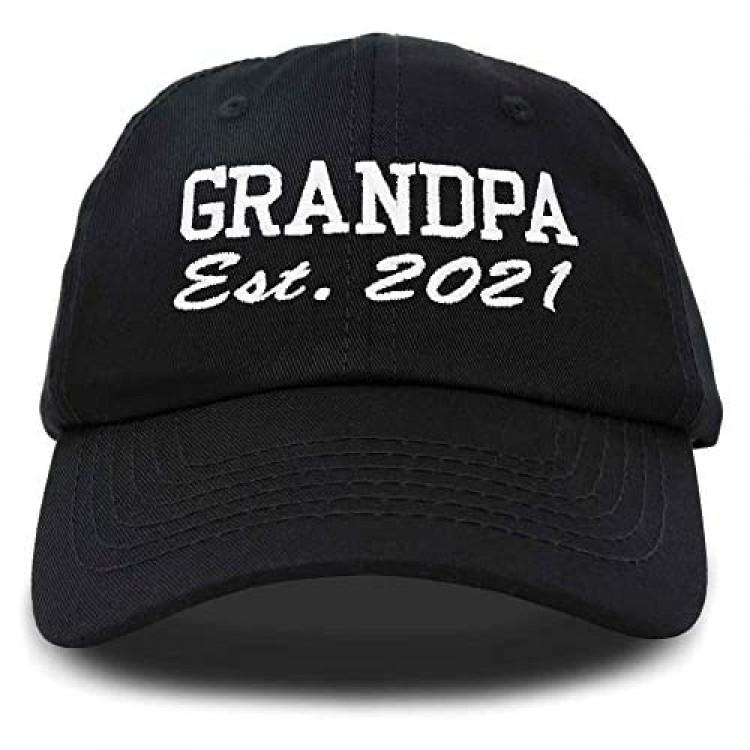DALIX New Grandpa Hat Est 2021 Fun Gift Embroidered Dad Hat Cotton Cap