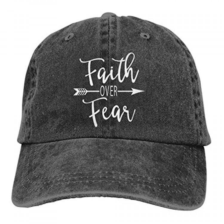 Faith Over Fear Adjustable Denim Jeans Baseball Caps Dad Hat Trucker Cap