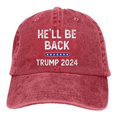 He'll Be Back Trump 2024 Hat Adjustable Baseball Cap Unisex Washable Cotton Trucker Cap Dad Hat