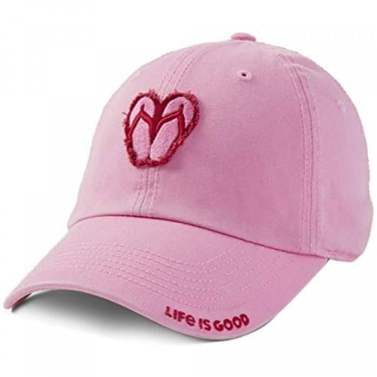 Life is Good Tattered Chill Cap Baseball Hat Happy Pink One Size