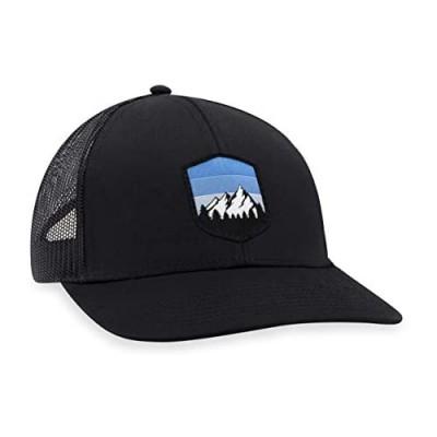 Mountains & Trees Hat – Mountain Trucker Hat Baseball Cap Snapback (Black)