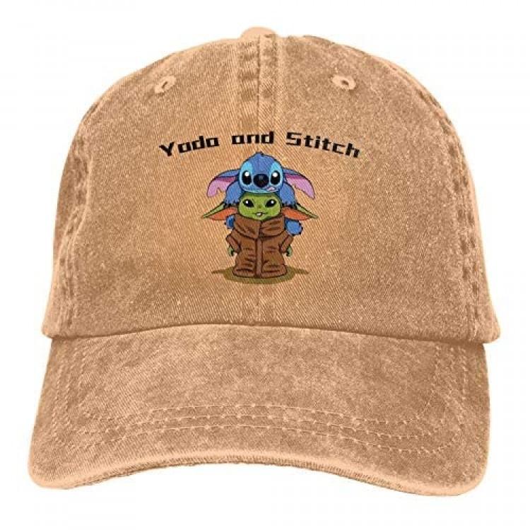 Ndort Cartoon Men's Baseball Cap Washed Cotton Denim Adjustable Dad Hat Printing Cowboy Hat