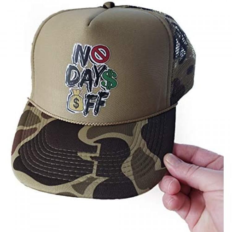 NO DAYS OFF Trucker Hat Snap Back Baseball Cap Mesh Adjustable Curved Bill - Choose Army Black Grey or Blue