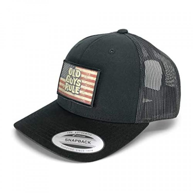 OLD GUYS RULE Trucker Hat + US Flag Patch Set by Pull Patch | Authentic Snapback Baseball Cap | Curved Bill 2x3 in Hook & Loop Surface 6 Panel | Black