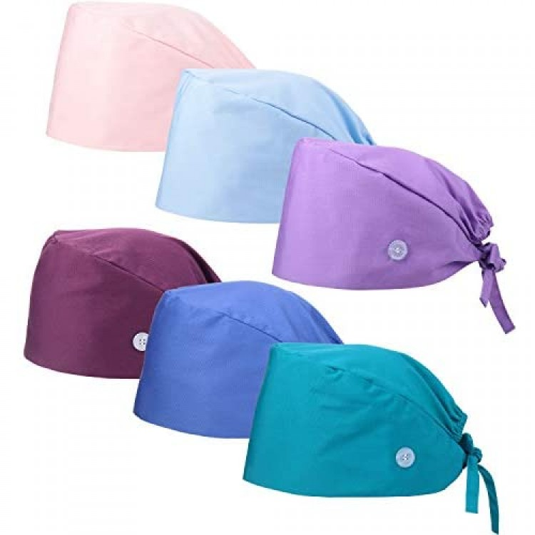 SATINIOR 6 Pieces Working Caps with Buttons Gourd-Shaped Sweatband Bouffant Hats