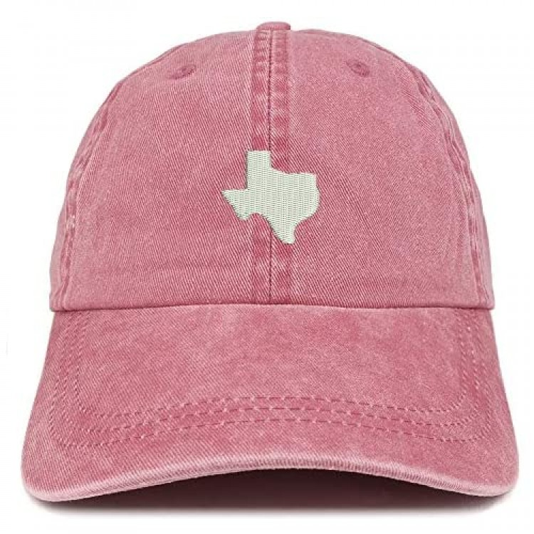 Trendy Apparel Shop Texas State Map Embroidered Washed Cotton Adjustable Cap
