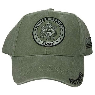 U.S. Army Retired Baseball Cap with U.S. Flag on Side. OD Green