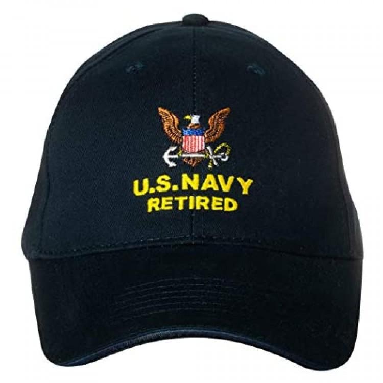 U.S. Navy Caps Retired Direct Embroidered Cap Black Adjustable