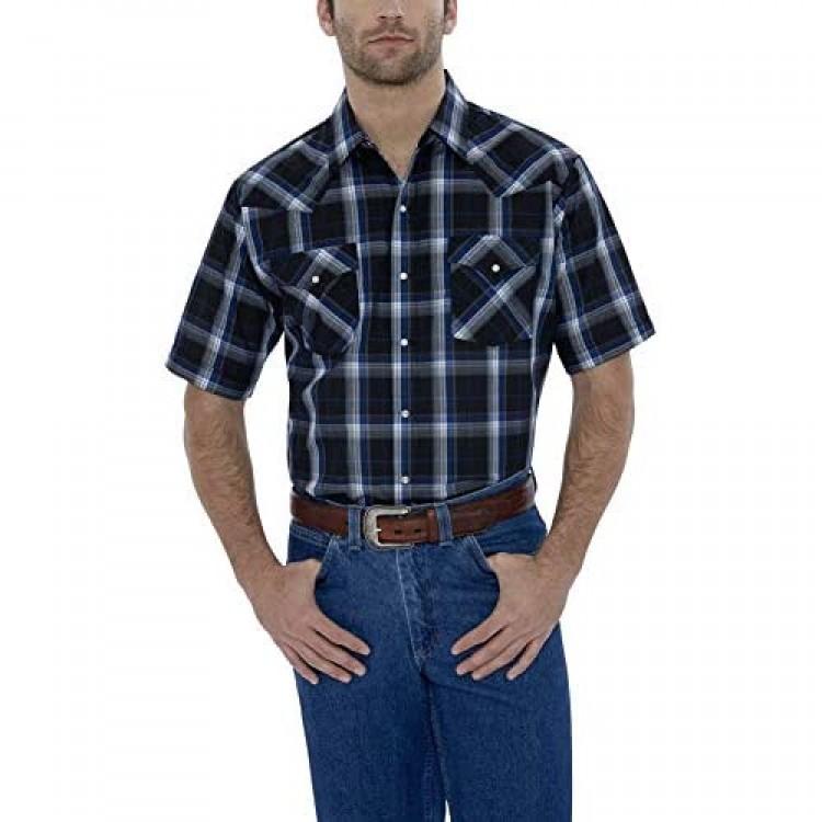 ELY CATTLEMAN Men's Short Sleeve Classic Western Plaid Shirt