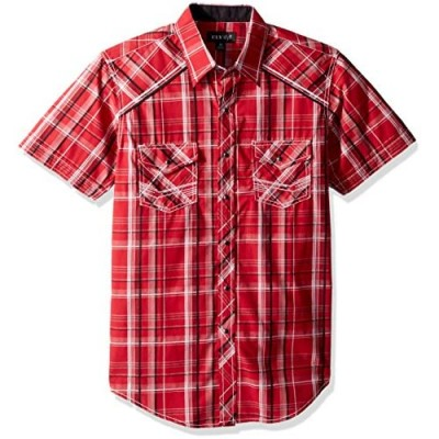 ELY CATTLEMAN Men's Short Sleeve Textured Plaid Shirt with Accent Stitch