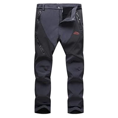 CRYSULLY Men's Fleece Pants - Outdoor Softshell Mountain Snow Ski Hiking Trousers